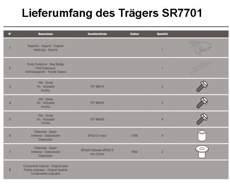 Schwarz Givi SR7701 Topcase Tr/äger Monolock Koffer